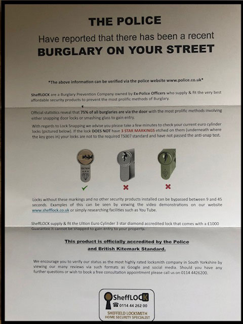 Received a leaflet from SheffLOCK?