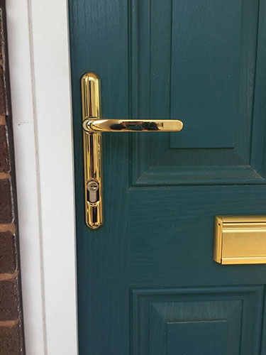 brass security door handle