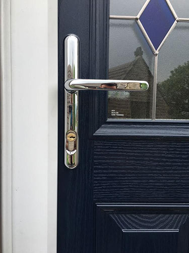 nickel security door handle
